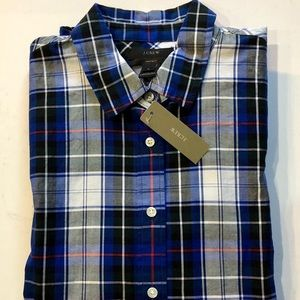NWT J Crew Perfect Button Up Shirt Blue Plaid Sz6